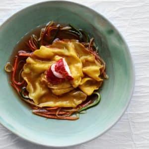 Recette diététique : Ravioles de légumes et homard