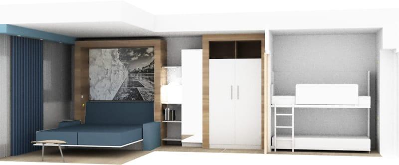 Chambre dans la résidence Neptunia
