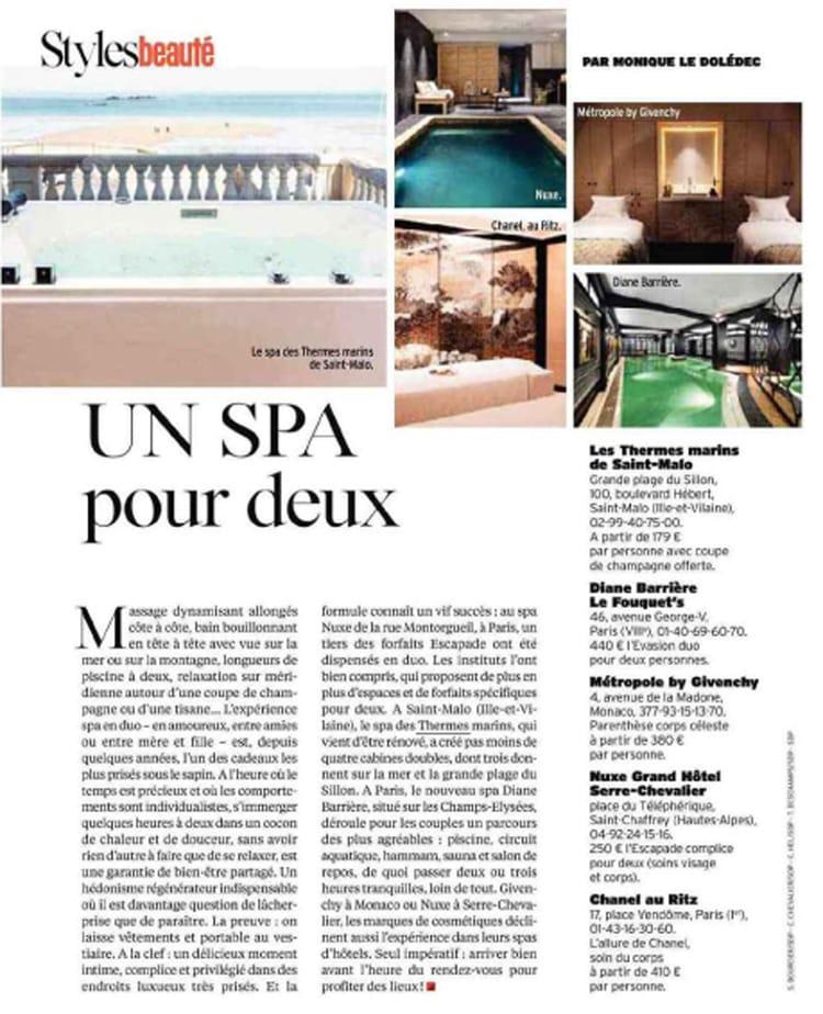 Article Un Spa pour deux paru dans le magazine l'Express de décembre 2017