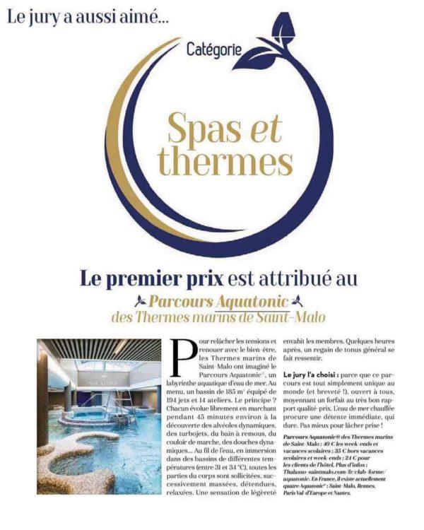 Article MarieFrance : Aquatonic premier prix Spa et Thermes 2021